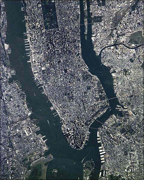 New York City Manhattan Aerial Satellite Photo Print for Sale