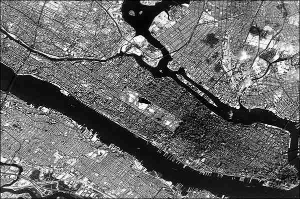 New York City Manhattan Satellite View from Space Photo Print for Sale