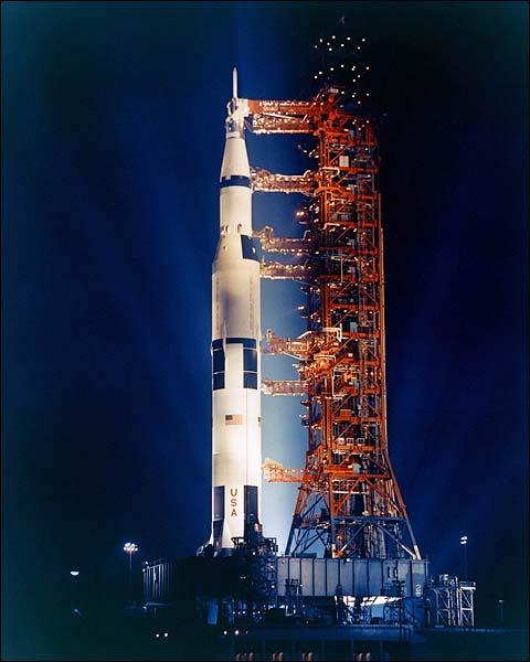 Apollo 14 Saturn V Rocket Nighttime Photo Print for Sale