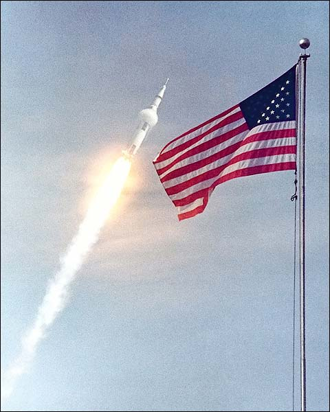 Apollo 11 Saturn V Launch w/ Flag Photo Print for Sale