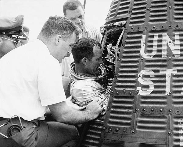 NASA Gordon Cooper Exiting Mercury Faith 7 Capsule Photo Print for Sale