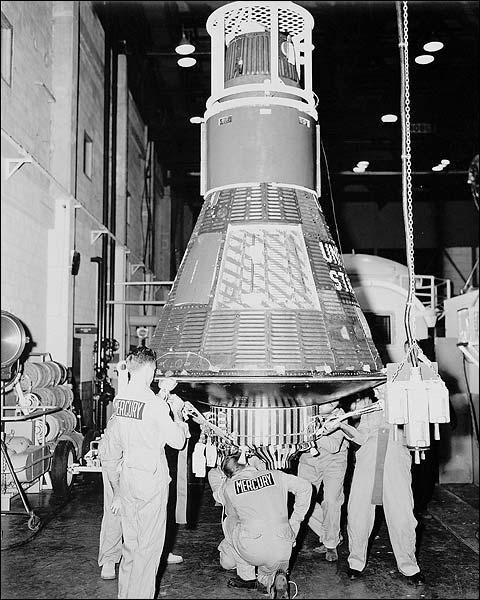 Mercury 8 Sigma 7 in Hangar NASA Photo Print for Sale