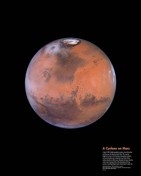 Hubble Space Telescope Cyclone on Mars Photo Print for Sale