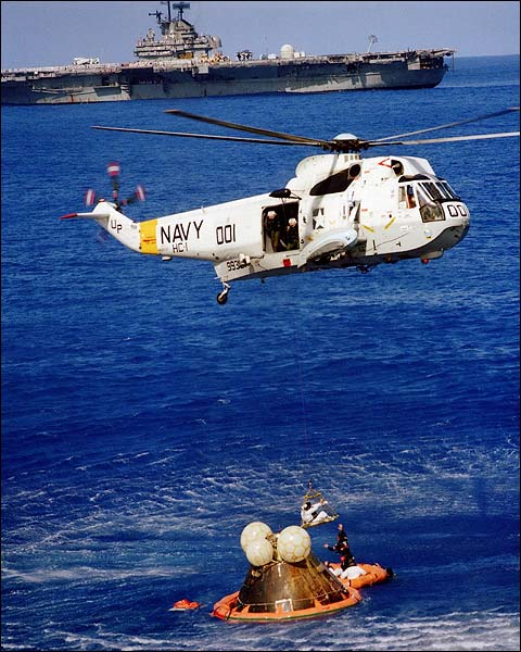 Apollo 17 Jack Schmitt Helicopter Recovery Photo Print for Sale