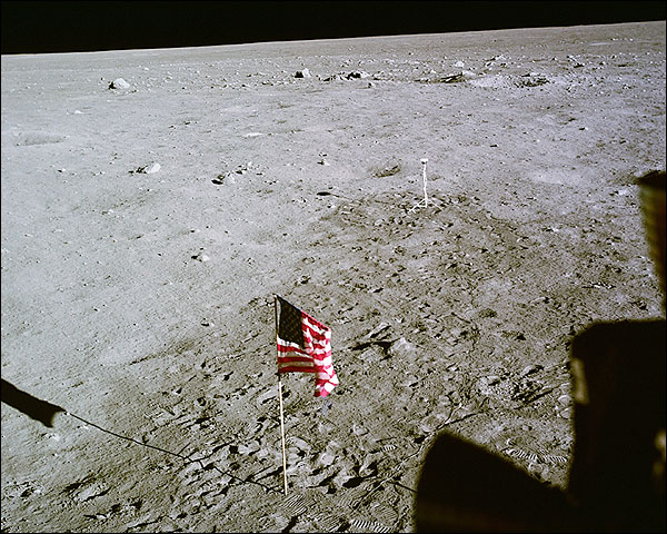 Apollo 11 US Flag & Camera on Moon NASA Photo Print for Sale