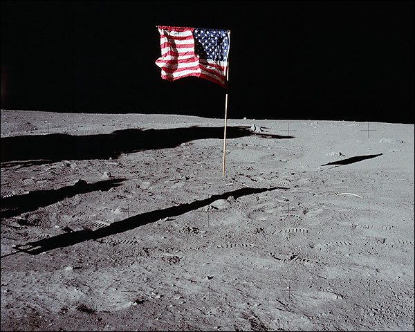 Apollo 11 American Flag on Moon Surface Photo Print for Sale