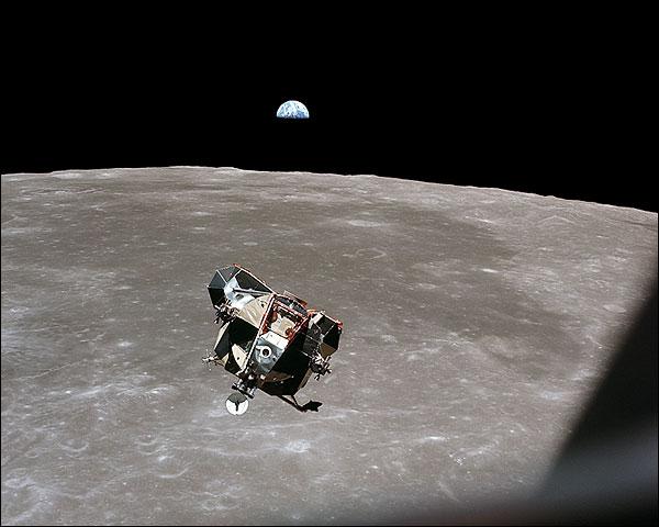 Apollo 11 Lunar Module Moon & Earth Photo Print for Sale