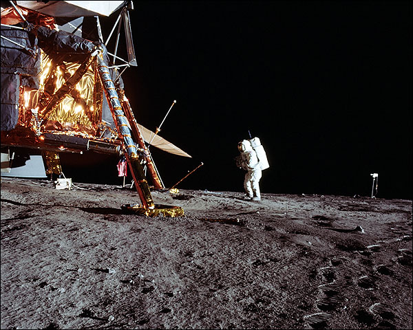 Apollo 12 Astronaut Alan Bean & LM on Moon Photo Print for Sale