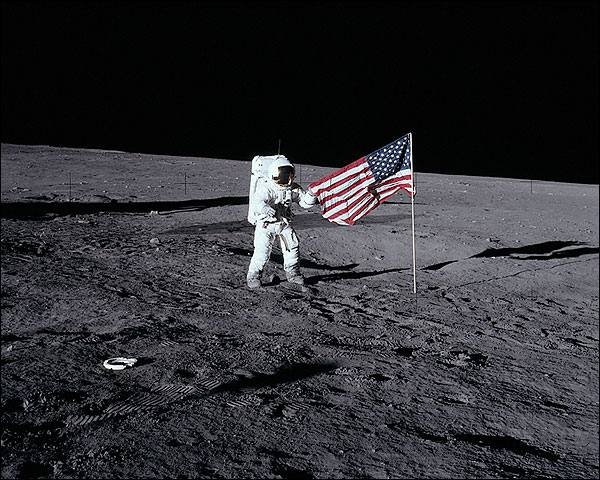 Apollo 12 Charles 'Pete' Conrad & Flag Moon Photo Print for Sale