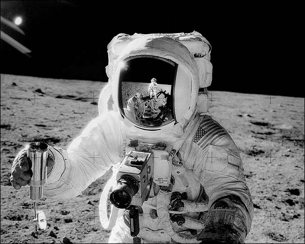Apollo 12 Alan Bean w/ Sample on Moon Photo Print for Sale