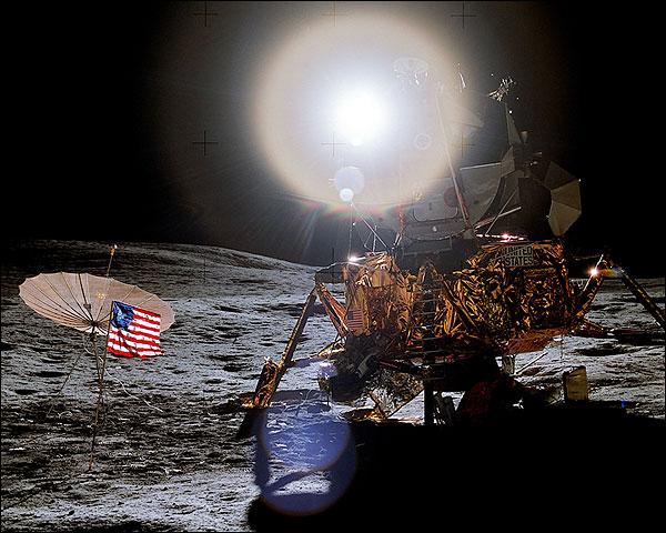 Apollo 14 Flag & Lunar Module on Moon NASA Photo Print for Sale