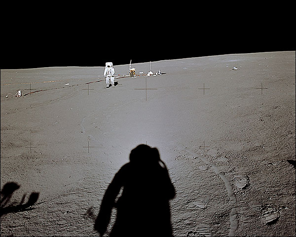 Apollo 14 Edgar Mitchell at Distance Moon Photo Print for Sale
