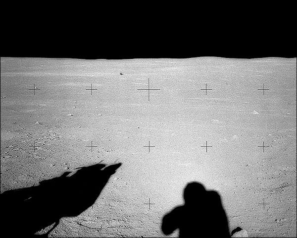 Apollo 14 Astronaut Alan Shepard Shadow on Moon Photo Print for Sale