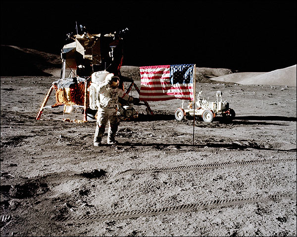 Apollo 17 Astronaut Eugene Cernan & Flag Photo Print for Sale