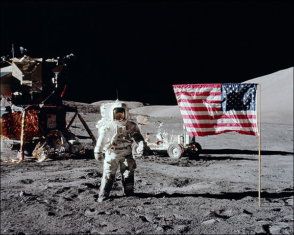 Apollo 17 Astronaut Harrison Schmitt & Flag Photo Print for Sale