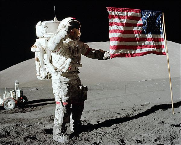 Apollo 17 Gene Cernan Flag Salute on Moon Photo Print for Sale