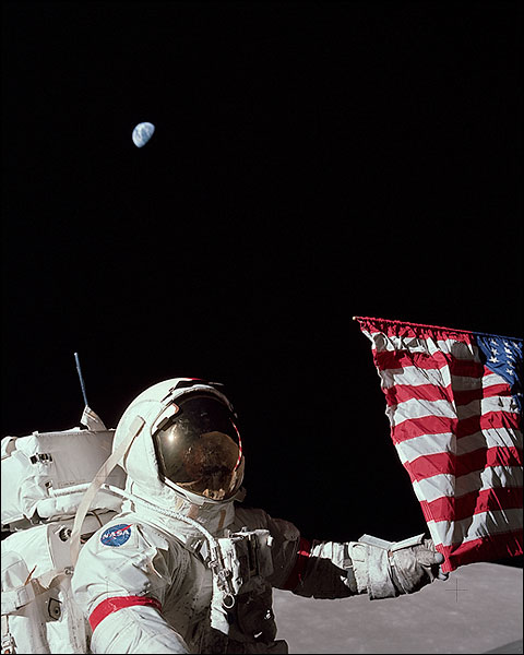 Apollo 17 Eugene Cernan w/ US Flag & Earth Photo Print for Sale