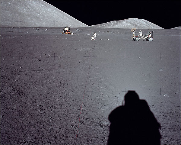 Apollo 17 Distant View of Rover and LM Photo Print for Sale