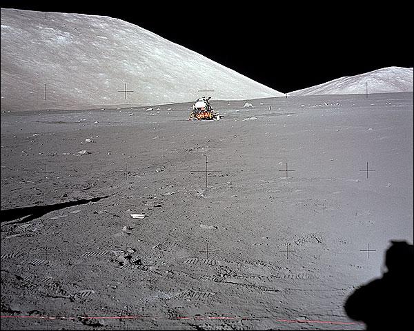Apollo 17 Astronaut Shadow & LM on Moon Photo Print for Sale