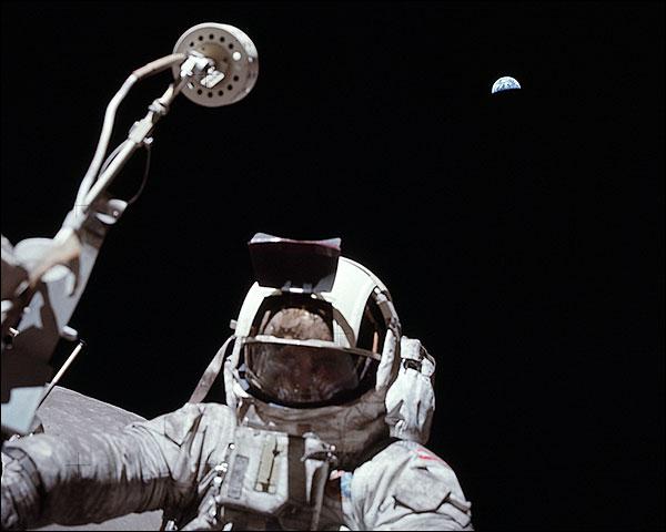 Apollo 17 Harrison Schmitt on Moon w/ Earth Photo Print for Sale