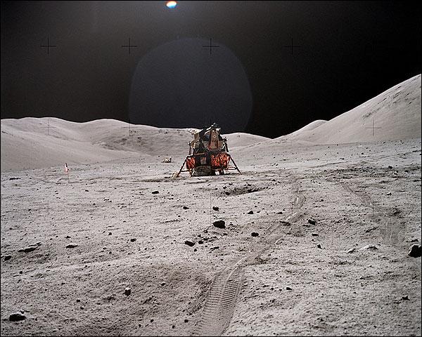Apollo 17 Lunar Module & Rover Tracks Moon Photo Print for Sale