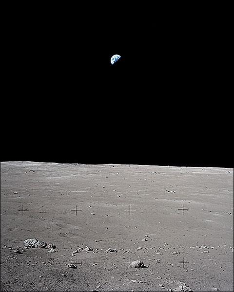 Apollo 17 Earth Near Horizon on the Moon Photo Print for Sale