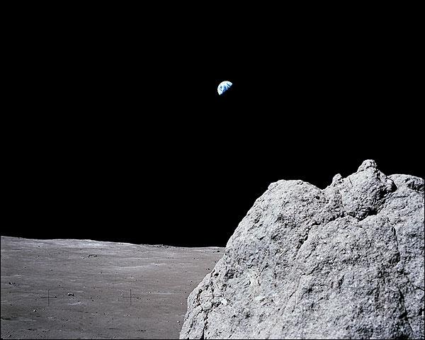 Apollo 17 Earth over Moon w/ Boulder NASA Photo Print for Sale