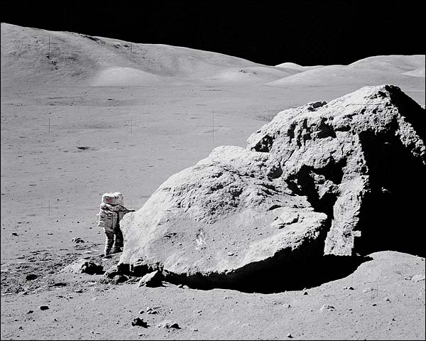 Apollo 17 Harrison Schmitt by Moon Boulder Photo Print for Sale
