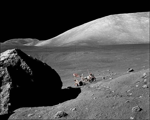 Apollo 17 Moon Boulder & Lunar Rover Photo Print for Sale