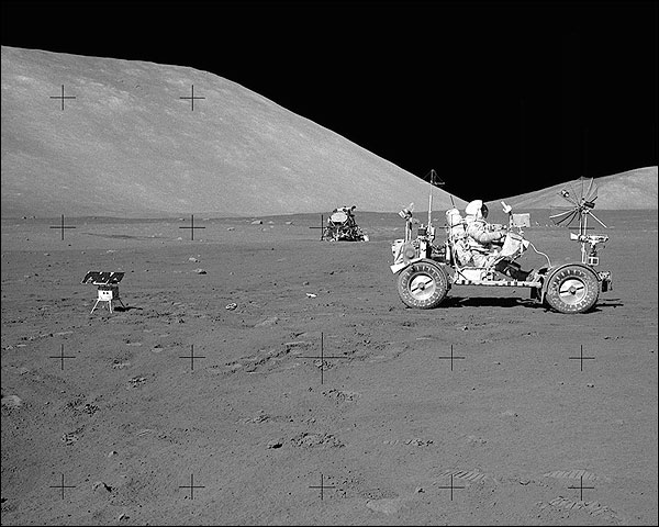 Apollo 17 Eugene Cernan Driving Lunar Rover Photo Print for Sale