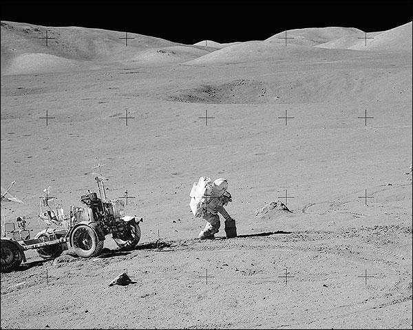 Apollo 17 Gene Cernan w/ Hasselblad on Moon Photo Print for Sale