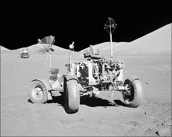 Apollo 17 Rover w/ Lunar Module on Moon Photo Print for Sale