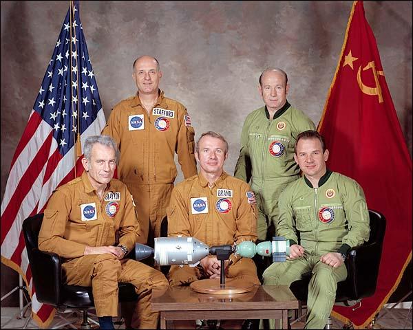 ASTP Apollo Soyuz Astronauts Group Portrait Photo Print for Sale