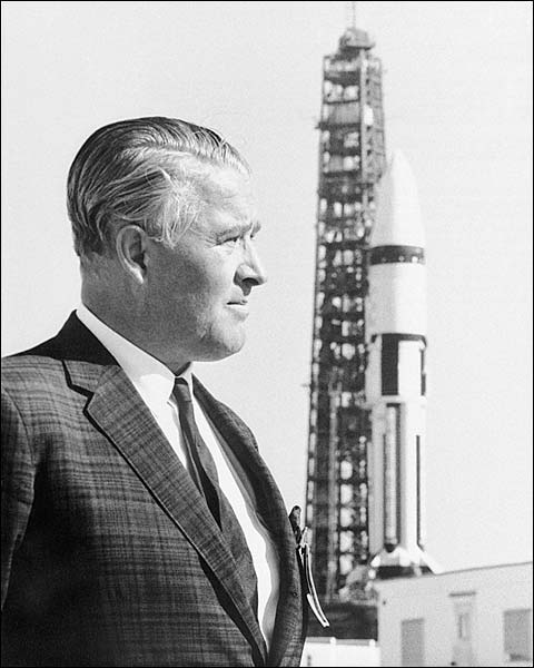 Wernher Von Braun Portrait w/ Saturn Rocket Photo Print for Sale