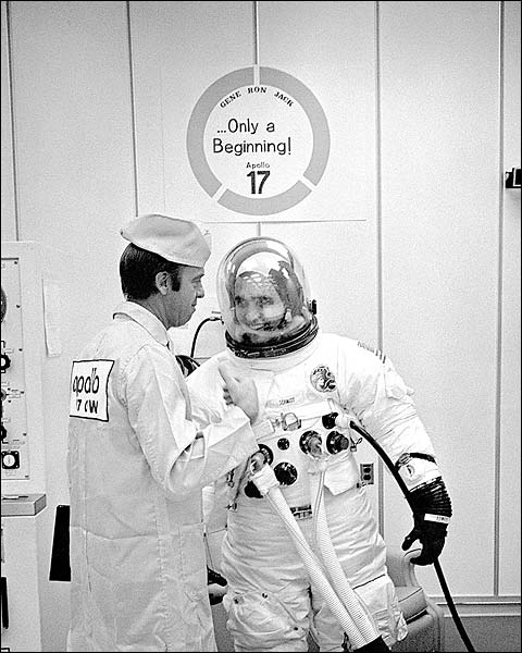 Apollo 17 Schmitt Suit Up w/ Shepard NASA Photo Print for Sale