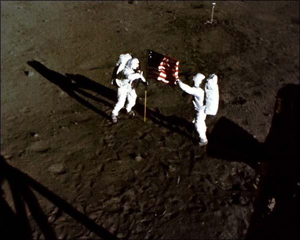 Apollo 11 Armstrong & Aldrin w/ US Flag Photo Print for Sale