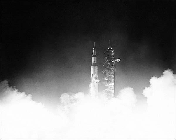 NASA Apollo 17 Night Launch Photo Print for Sale