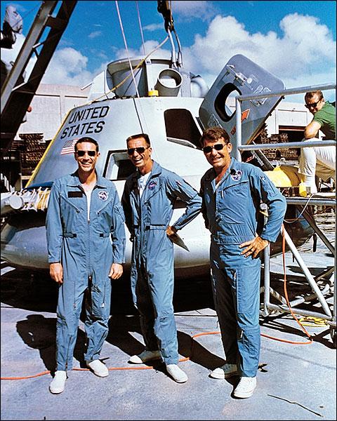 Apollo 7 Schirra, Eisele & Cunningham with Lunar Module Photo Print for Sale