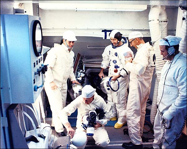 NASA Apollo 9 Astronaut Flight Crew Suit Up Photo Print for Sale