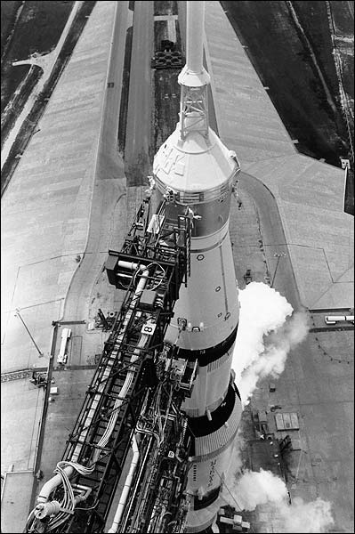 Apollo Saturn V Space Rocket on Launchpad Photo Print for Sale