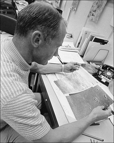Buzz Aldrin Inspects Lunar Maps Photo Print for Sale