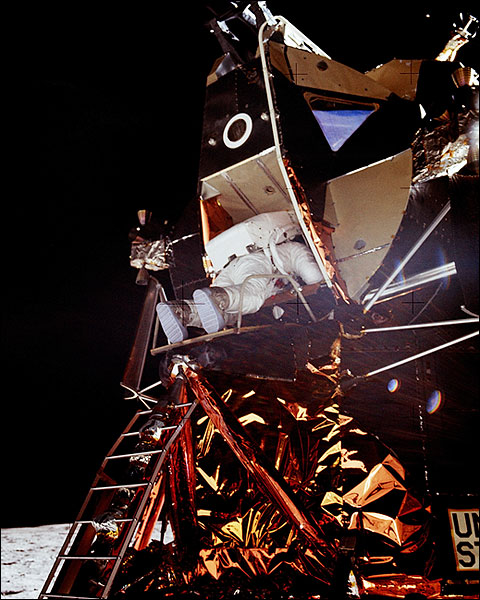 Apollo 11 Buzz Aldrin Exiting Lunar Module Photo Print for Sale