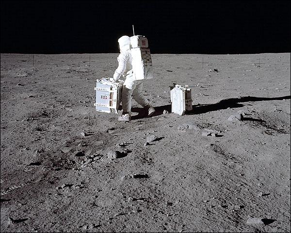 Apollo 11 Buzz Aldrin Lunar Experiments Photo Print for Sale
