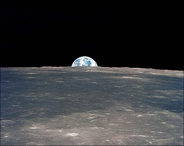 Apollo 11 Earth Rise Over Moon Horizon Photo Print for Sale