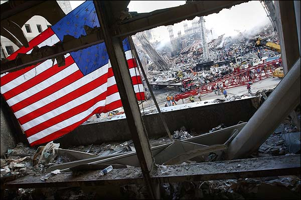 9/11 American Flag View of Ground Zero Photo Print for Sale