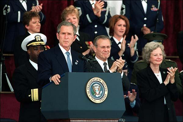 President George W. Bush & Donald Rumsfeld Photo Print for Sale
