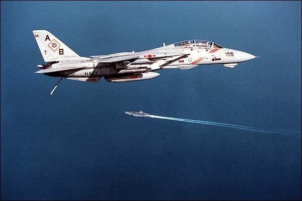 F-14 Flies over USS George Washington Photo Print for Sale