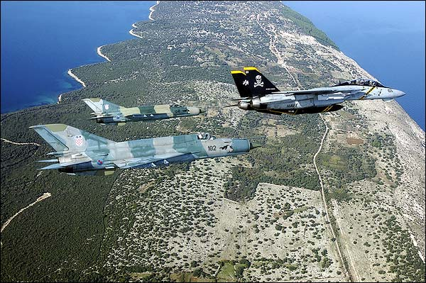 F-14 Tomcat w/ MiG-21 in Flight Photo Print for Sale