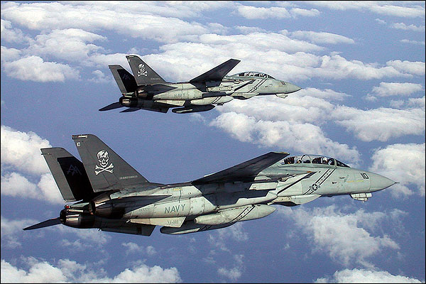 F-14 Tomcat VF-103 Pair in Flight Photo Print for Sale