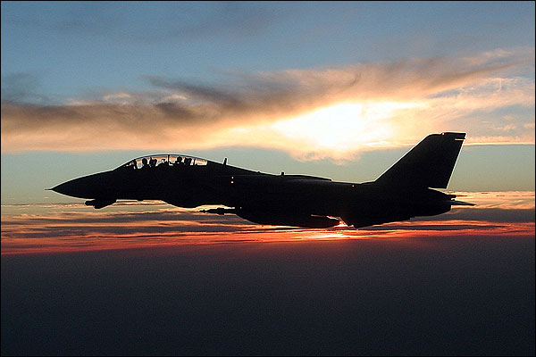 F-14 Tomcat Sunset in Flight Navy Photo Print for Sale